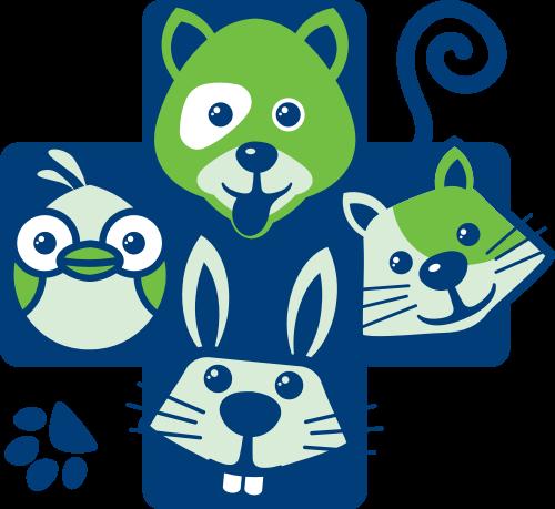 蓝色十字动物矢量logo