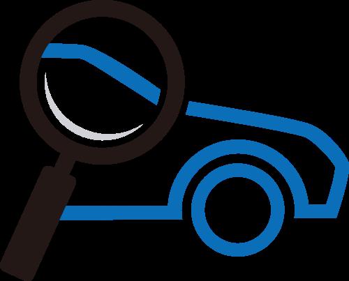 蓝色车放大镜矢量logo元素矢量logo
