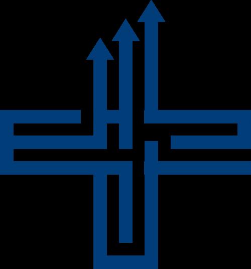 蓝色十字箭头矢量logo