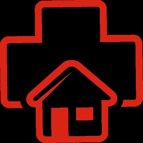 红色十字房子矢量logo