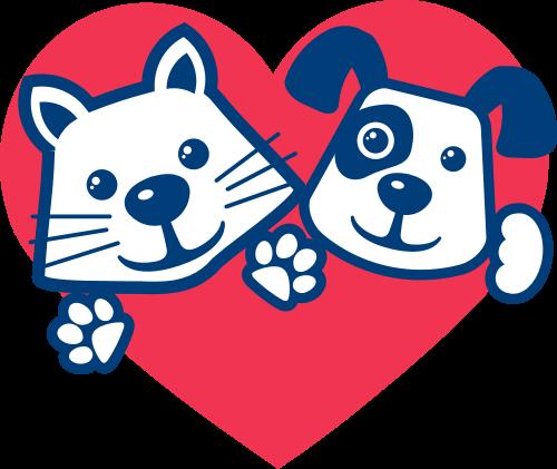 红色心形蓝色动物矢量logo元素