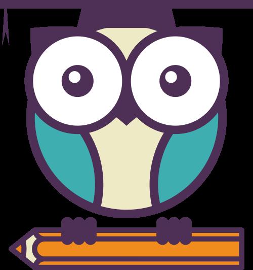彩色学士猫头鹰铅笔矢量logo