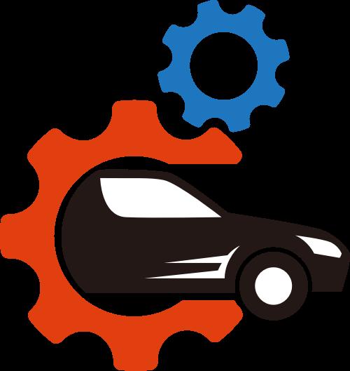 彩色车齿轮矢量logo图标矢量logo