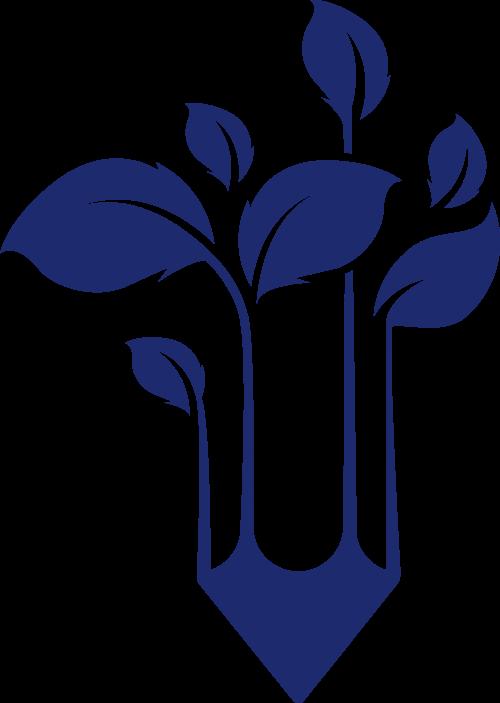 蓝色铅笔叶子矢量logo图标矢量logo