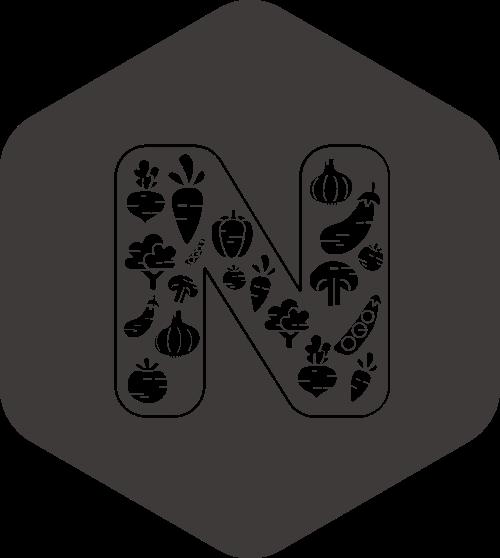 黑色六边形字母N矢量logo