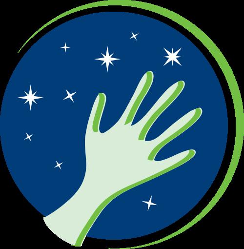 蓝色绿色星星手矢量logo
