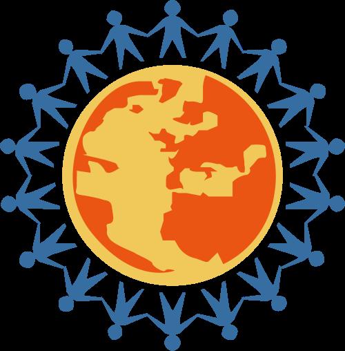 彩色地球人物矢量logo元素