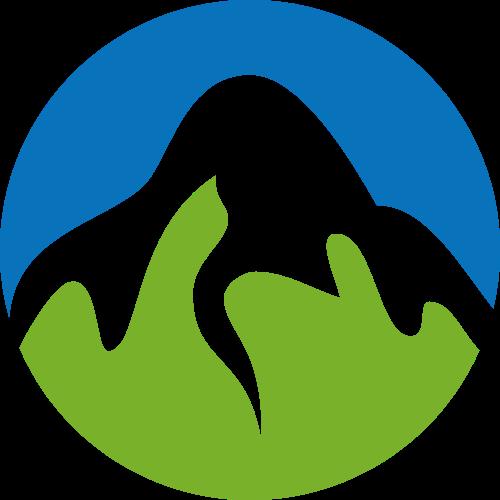 彩色圆形山峰矢量logo