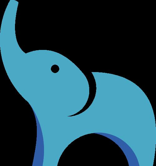 蓝色小象动物矢量logo