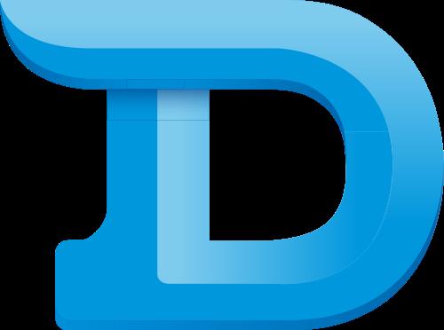 蓝色字母D矢量logo元素