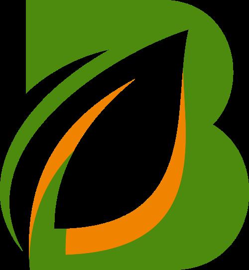 绿色叶子字母B矢量logo元素