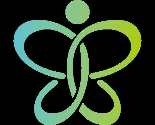 蓝绿色花朵矢量logo元素