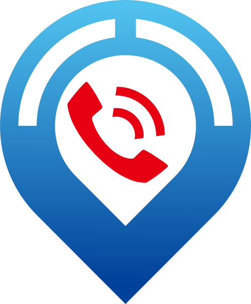 蓝色地图红色电话矢量logo图标