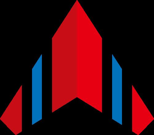 红色蓝色对称工业制造矢量logo