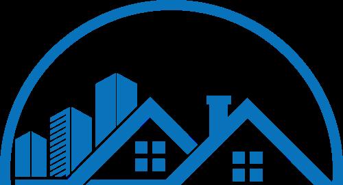 蓝色房子建筑矢量logo