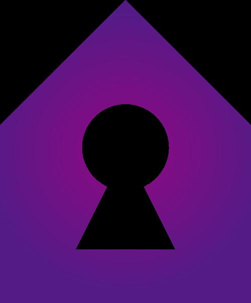 紫色房子锁头矢量logo图标