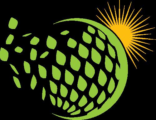 绿色球形太阳矢量logo图标
