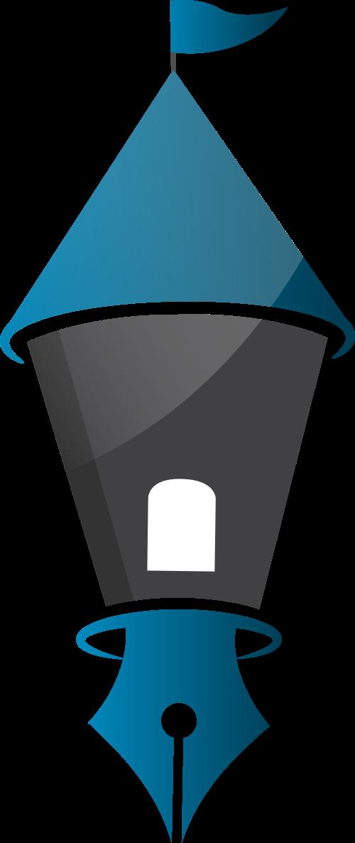 蓝色钢笔矢量logo图标