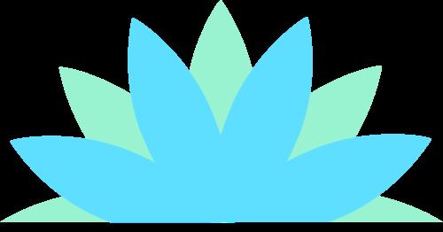 蓝绿色花朵矢量logo图标