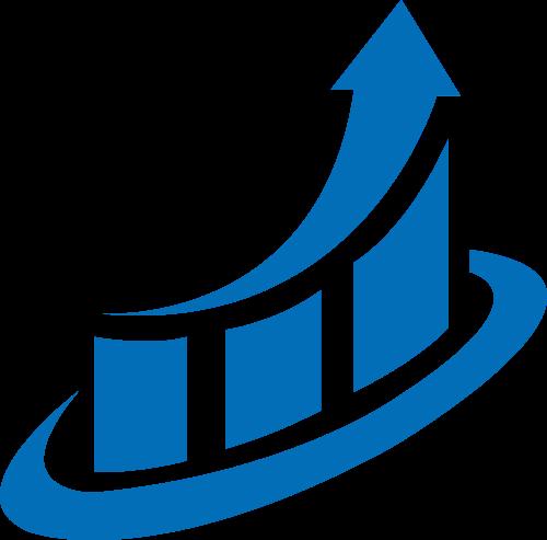 蓝色箭头统计矢量logo图标