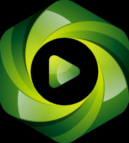 绿色六边形视频矢量logo