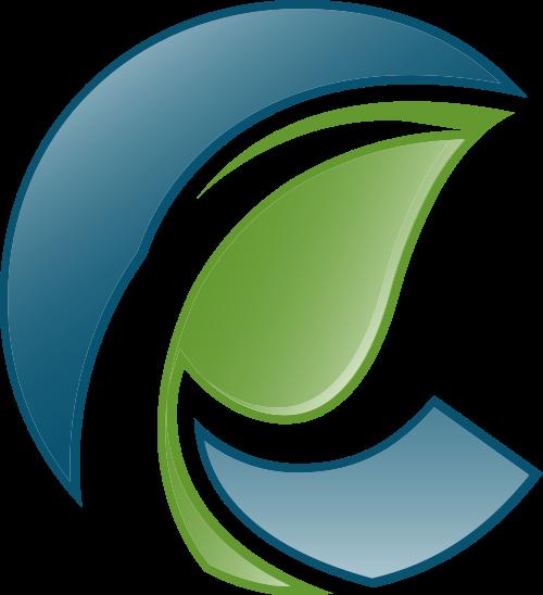 蓝色绿色叶子矢量logo图标