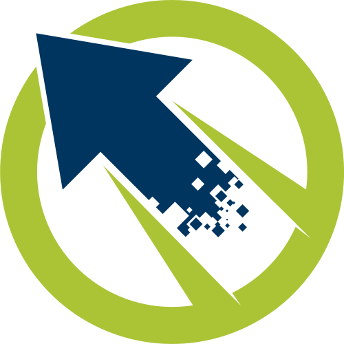 绿色圆形蓝色箭头矢量logo