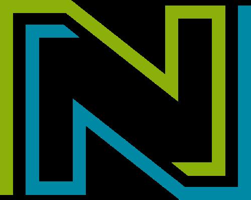 蓝绿色字母N矢量logo图标