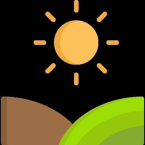 绿色农田金色太阳矢量图标矢量logo