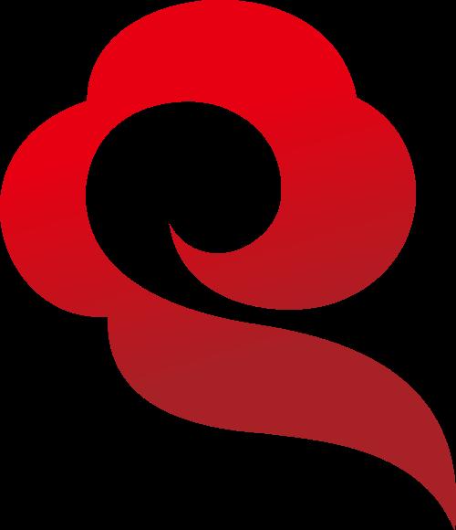 红色云彩中国风LOGO