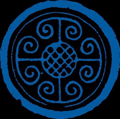 蓝色中国窗户图案矢量logo图标