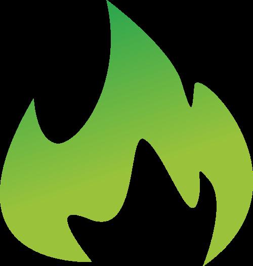 绿色火焰状logo设计素材