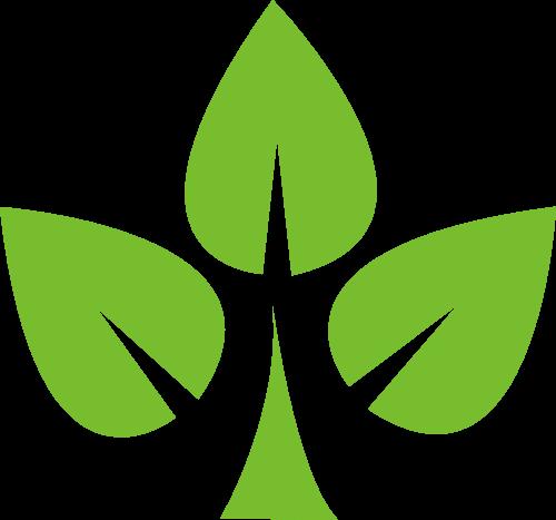 三叶绿色树矢量logo图标