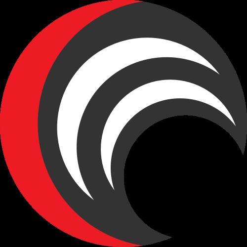 月亮形红黑矢量图标矢量logo