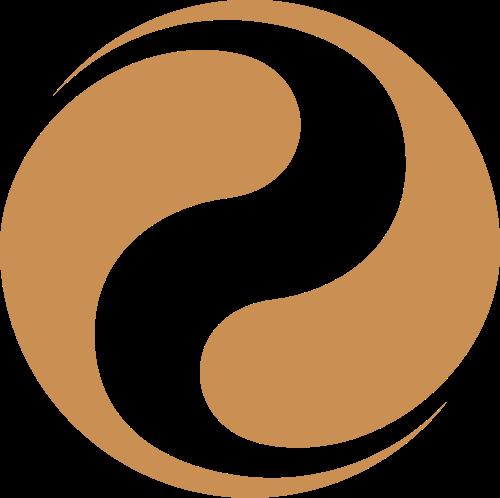 棕色八卦太极S形矢量logo图标