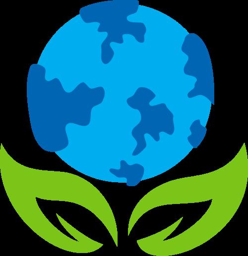 地球绿色环保绿叶花矢量logo图标
