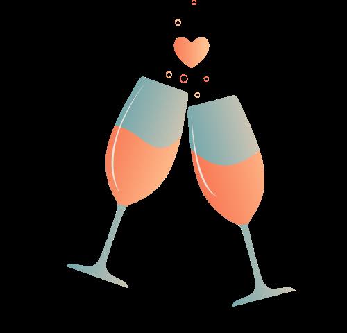 香槟爱心酒杯矢量logo图标