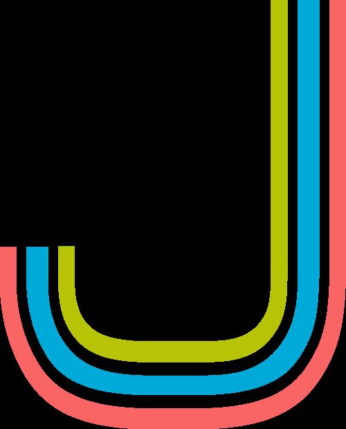 字母J三色logo设计素材