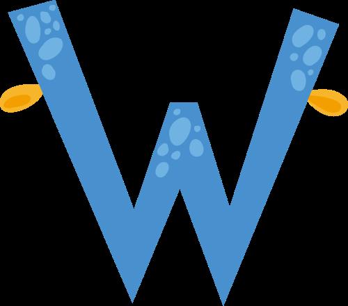 蓝色海洋系字母Wlogo设计素材