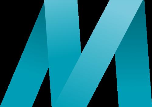 蓝色字母M折纸logo设计素材