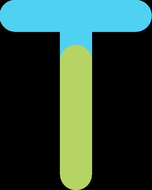 字母T双色矢量标志图片