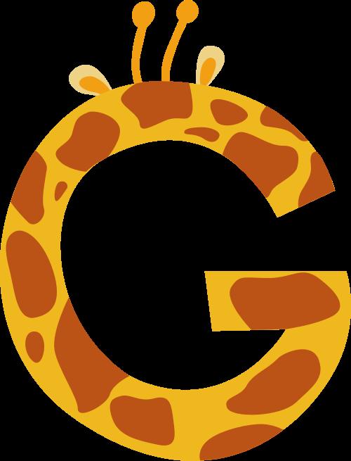 黄色长颈鹿字母G可爱动物矢量logo图片