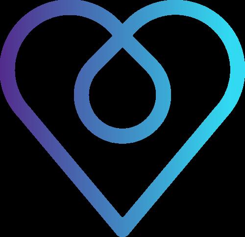 蓝色渐变心形logo素材图片