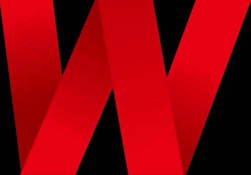 红色字母W折纸矢量标志图片