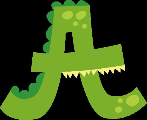 绿色鳄鱼字母A卡通动物矢量logo图标