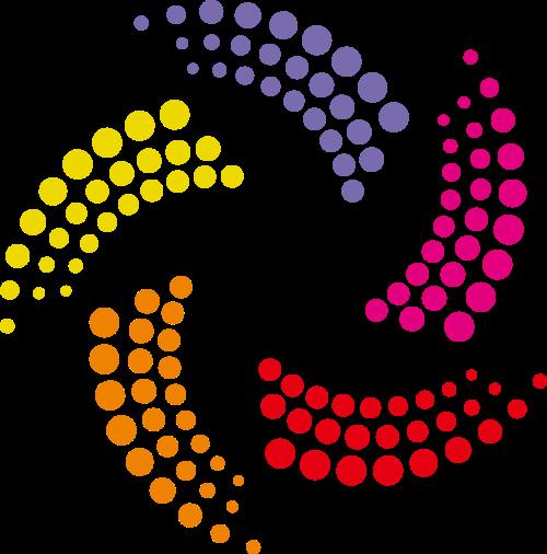 圆点螺旋形风车矢量logo图片