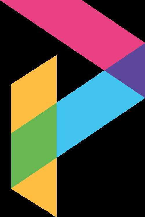 多色块拼接字母P矢量logo图标