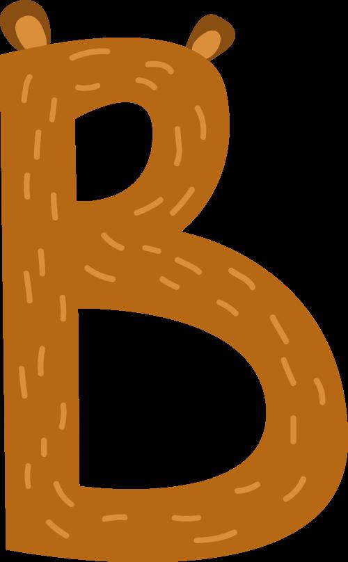 棕色小熊字母B卡通可爱动物logo设计素材