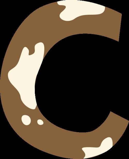 奶牛斑点字母C可爱动物矢量标志图片