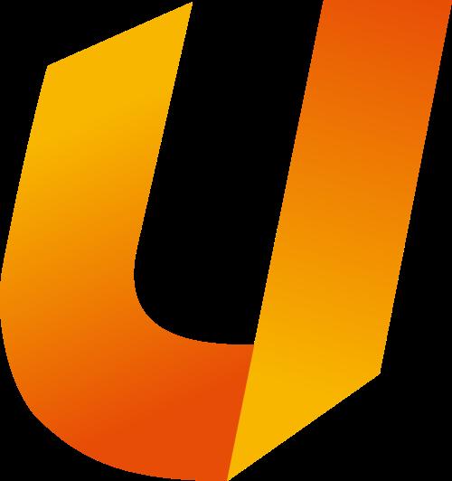 渐变红黄字母U折纸矢量logo图片